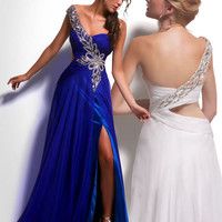 Cobalt Blue Ruched Tulle Sweetheart Beaded One Shoulder Prom Dress - Unique Vintage - Cocktail, Evening, Pinup Dresses
