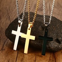 "Classic Mens Cross Pendant 24"" Stainless Steel Link Chain Statement Jewelry"