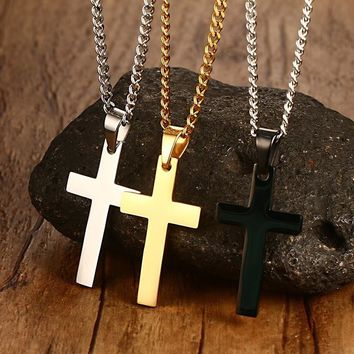 """Classic Mens Cross Pendant 24"""" Stainless Steel Link Chain Statement Jewelry"""