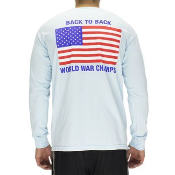 Back to Back World War Champs Long Sleeve Pocket Tee in Chambray by Full Time American