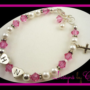 Cross Initials Pearl Rosary Bracelet Crystal Pink  Personalized Crystal Sterling Silver Rosary Prayer, baptism, christening, first communion