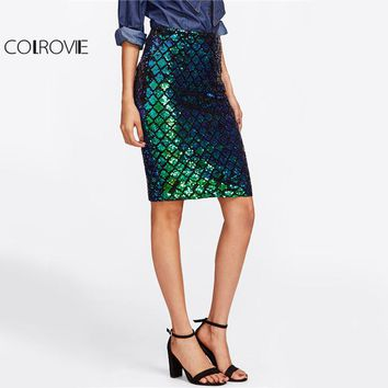 COLROVIE Iridescent Diamond Sequin Skirt Fish Scale Women Sexy Midi Club Pencil Skirts 2017 Summer Green Casual High Waist Skirt