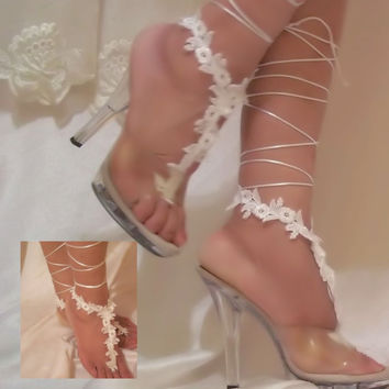 White Lace Up The Leg Barefoot Sandals, Leg Glams, Bottomless Sandals, Wedding Sandals, Beach Sandals, Bridal Sandals, Bridal Beach Sandals