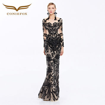 [ heisgh-end custom] Coniefox 38069 black blackless ladies de festa Party Sexy banquet Prom evening dress gowns long 2016 autumn