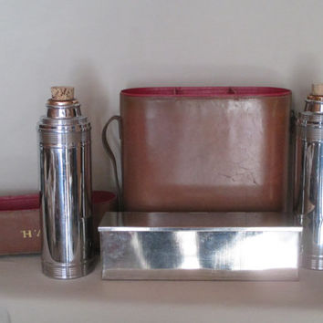 Leather Thermos Case, Model #160 Antique, Two Thermos Bottles, Biscuit/Sandwich Tin Early 1900's Expedition Fishing Hunting Sporting Picnic