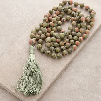 High-Energy Unakite Mala