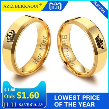 Trendy AZIZ BEKKAOUI Her King His Queen Couple Rings Gold Color Crown Stainless Steel Rings Wedding Jewelry Promise Bands Dropshipping AT_94_13