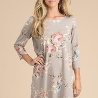 Scalloped Floral Dress - Taupe