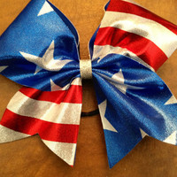 "3"" Cheer Bow - American Flag Red White and Blue"
