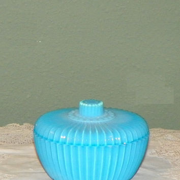Victorian EAPG Covered Dish Powder Box Glass opaline antique Dish ribbed footed