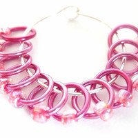 Extra Small Sock snag free stitch markers | Lace Stitch marker | No snag stitchmarkers | Knitting accessory | hot pink rings & beads | #0540