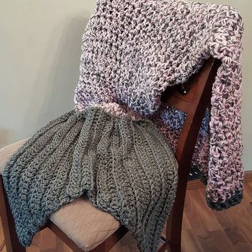 Pink and Gray Mermaid Blanket. Made by Bead Gs on ETSY. Adult size. mermaid tail