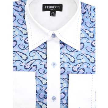 Ferrecci Men's Satine Hi-1029 White & Blue Flower Pattern Button Down Dress Shirt