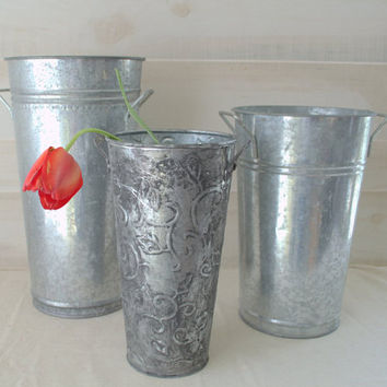 Galvanized Metal Flower Bucket, French Flower Buckets, Tin Flower Buckets