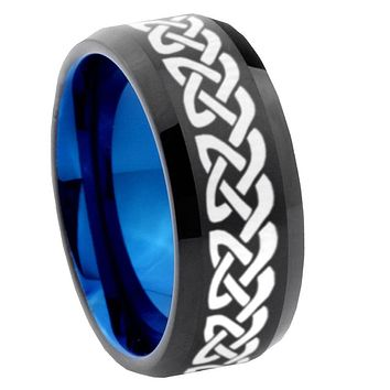 8mm Celtic Knot Love Bevel Tungsten Carbide Blue Mens Promise Ring