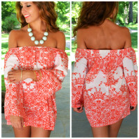 Angelic Gardens Red Off-Shoulder Tunic