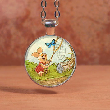 Winnie-the-Pooh classic illustration Piglet Pendant Necklace