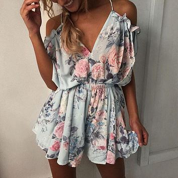 Women Off shoulder Ruffles Floral Print Romper