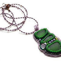 Statement Purple Green Beaded Embroidered Pendant Necklace Seaglass art Unique jewelry piece Handcrafted extra long necklace Beach glass art