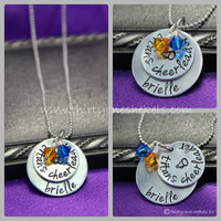 Personalized Cheer Necklace, Hand Stamped Cheer Necklace, Cheer Mom Necklace, Cheerleading necklace