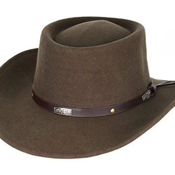 Men's Wool Gambler Hat with Band Brown (X-Large (60 cm.))