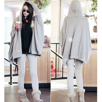 New Women's Korea Zip-Up Front Casual Long Batwing Sleeve Hooded Hoddie Coat Jacket Sweater AP = 1945704580