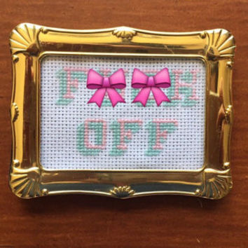 NSFW F*** Off Handmade Framed Cross Stitch Sassy Cross Stitch