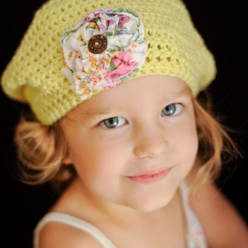 Vegan Crocheted Yellow Tam for Baby 1-4 Years - Hat - Beret - Beanie - Slouchy Beanie - Cloche - Photo Prop - Upcycle - OOAK - Free Shipping