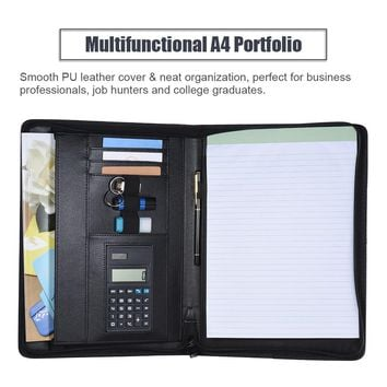 A4 PU Leather Portfolio Professional Business Padfolio Folder Document Case  with Calculator Card Holder Memo Note Writing Pad