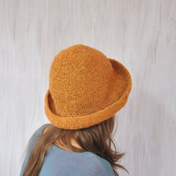 Brown Hat, Women's Brimmed Hat, Handmade Hat, Boucle Yarn Crochet Hat, Floppy Hat, Flatter Hat, Winter Spring Hat, Impressive unique, OOAK