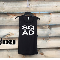 SQAD ( Squad)   Ladies Ultra soft Muscle Tank Top Bachelorette party tank workout tank