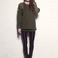 Exclusive Phix Vintage Renewal Military Knit Oversized Jumper with Spiked Shoulders in Green