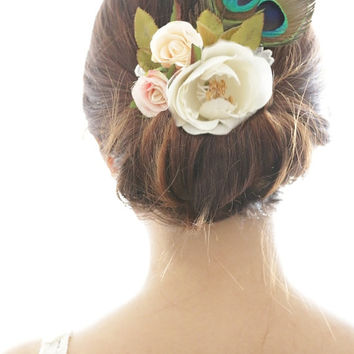 Peacock Bridal Hair Accessory, Vintage ivory pink rose, Silk Flower Hair comb, Bridesmaid, Rustic Chic Romantic, outdoor wedding woodland