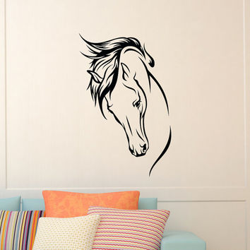 Horse Head Wall Decal Wild Animals Wall Decals Murals Vinyl Stickers Living Room Bedroom Kids Nursery Baby Room Wall Art Home Decor Z861