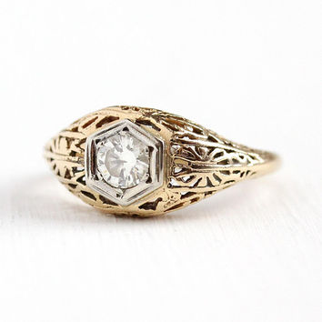 Vintage Diamond Ring - 1930s Art Deco 14k Yellow & White Gold 1/3 Carat Size 6 - Filigree Fine Engagement Bridal Two Tone Flower Jewelry