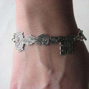 skeleton key bracelet - silver