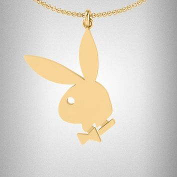 Playboy Gold Flat Bunny Head Pendant | Playboy Branded | Novelty | Jewelry | Playboy