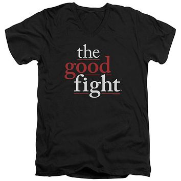 The Good Fight Slim Fit V-Neck T-Shirt Logo Black Tee