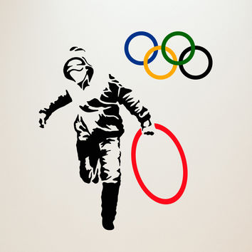 Banksy Stealing Olympic Rings Wall Decals