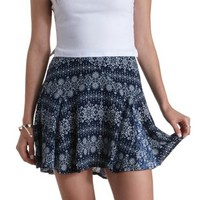 Med Blue Combo Mixed Print Godet Skater Skirt