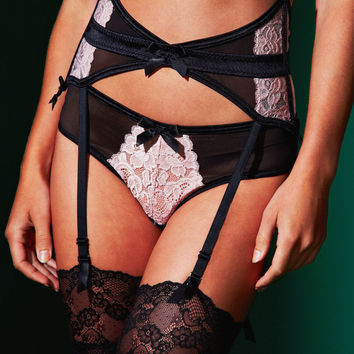 BlueBella, Vivienne Suspender features floral lace side panels, seductive cut-out sections and soft satin straps and trim at figleaves.com
