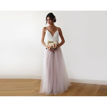 Fairy ivory & pink tulle wedding gown, two colors dress 1185