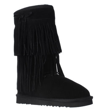 AR35 Senecah Fleece Lined Fringe Winter Boots, Black, 6 US