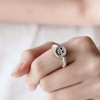 925 sterling silver Ball Bead and Smiley face charm Stretch Ring, rubb