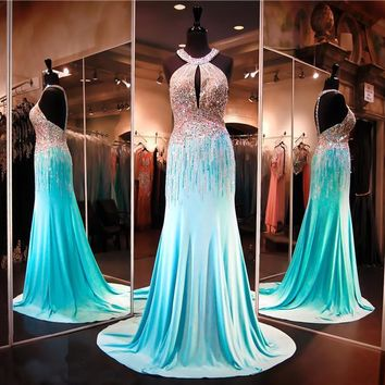 Aqua Chiffon Halter Neckline Heavy Shiny Crystals Mermaid Prom Dress Keyhole Front AB Stones Beading Evening Dress Pageant Dress