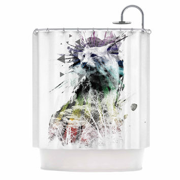 """Frederic Levy-Hadida """"Art Name"""" Multicolor Cat Shower Curtain"""