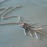 Pinecone Necklace Silver Pine Branch Necklace Pinecone Jewelry