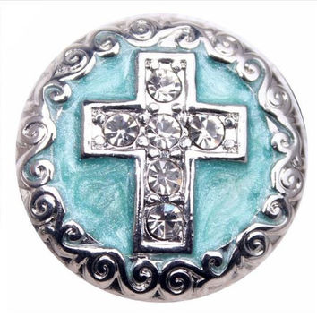 Enamel Rhinestone Cross Snap 20mm for Snap Jewelry