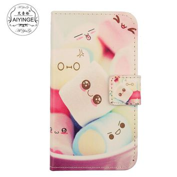AIYINGE Mobile Phone Shell Flip Design PU Leather Cover Case For Alcatel Pixi First Dual Sim 4 4024D
