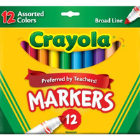 Binney  Smith Crayola(R) Non-Washable Markers, Broad Line, Assorted Classic Colors, Box Of 12